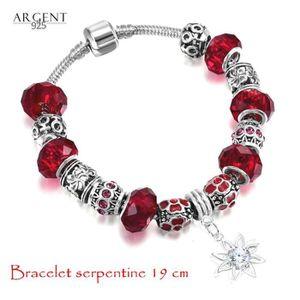 BRACELET , GOURMETTE 19 CM Bracelet Style Pandora Charm Fleur Rouge Ar