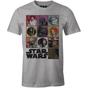 T-SHIRT T-Shirt Adulte Star Wars : Personnages - Gris chin