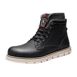 HEE GRAND Homme Chaussure de Boots Plat Court en semelle Souple de lacet n44GhAB