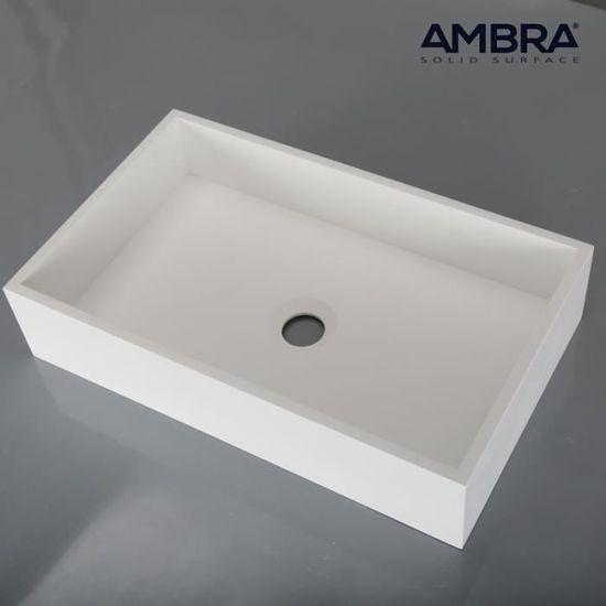 Vasque Rectangulaire 50 Cm En Solid Surface Soho Blanc Achat