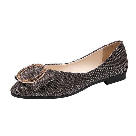Reservece  Femmes Sequins Shallow Slip On Low Heel Flat Party Shoes Pointed Single Shoes Or  Or - Achat / Vente slip-on