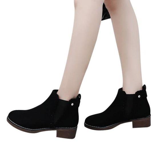Femmes solides Chaussures Compensées couleur Martain Bottes en daim Bottes Courtes ronde Chaussures Toe Noir Noir - Achat / Vente botte