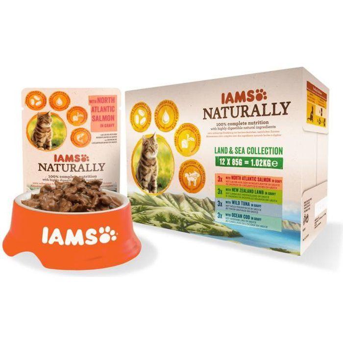 IAMS Naturally Humide Terre & Mer en sauce - Toutes races - 12x85 g - Pour chat adulte