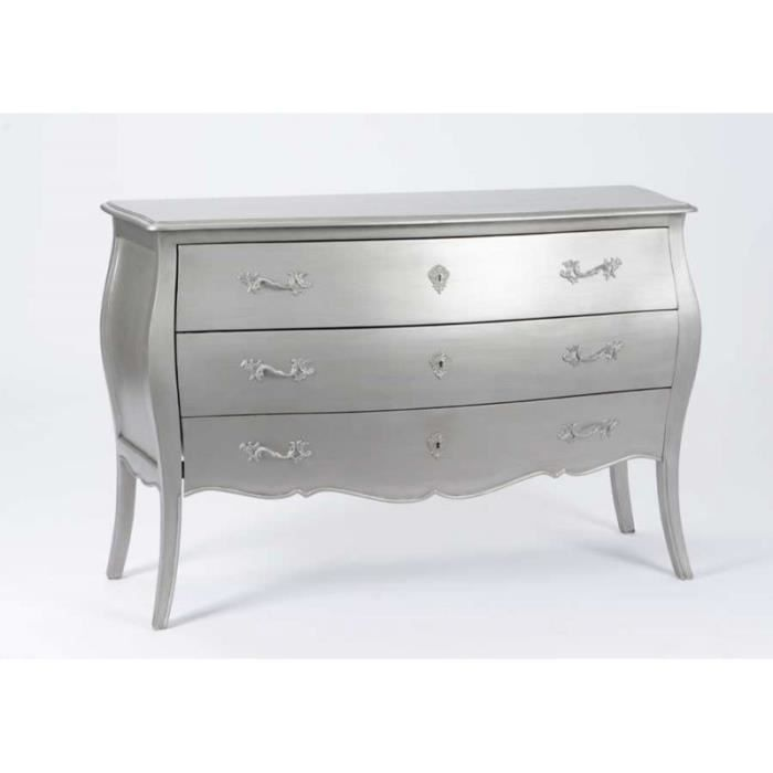 Grande Commode 3 Tiroirs Murano New Silver Argent Achat Vente