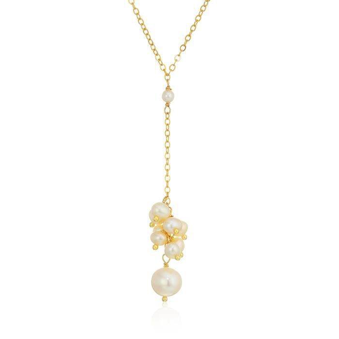 Gold Filled Chain With Cultured Freshwater Pearl Pendant Y-shaped Necklace BFLLC