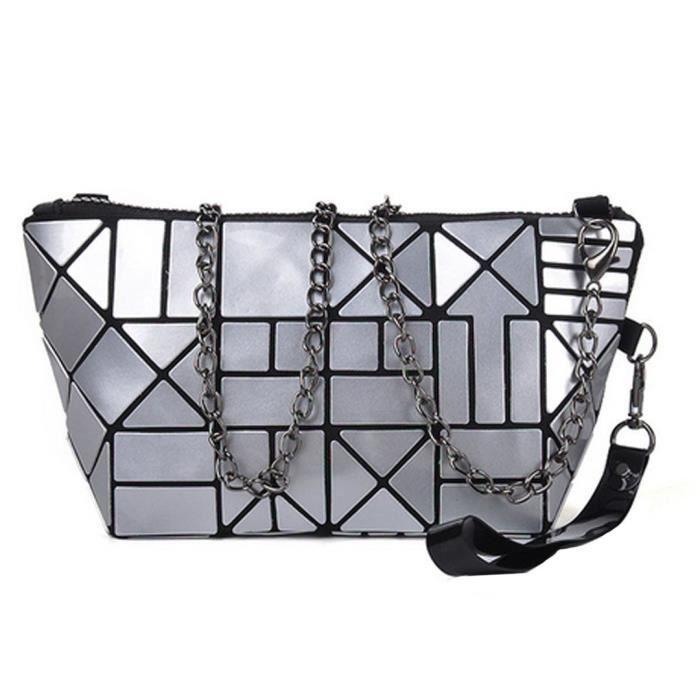Pu Sac à bandoulière motif géométrique chaîne sac à bandoulière monnaie sac sac VR6T0