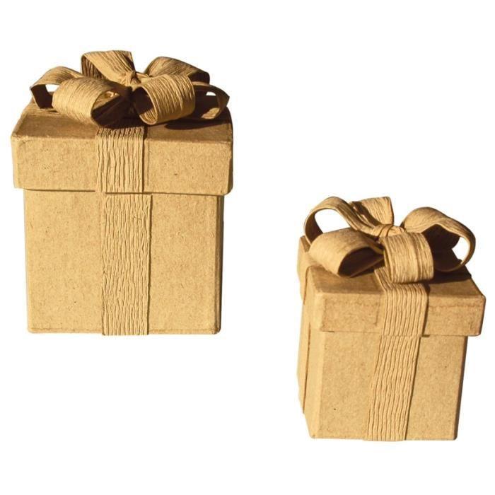 boîte cadeau carré avec noeud en carton 8cm - graine créative marron