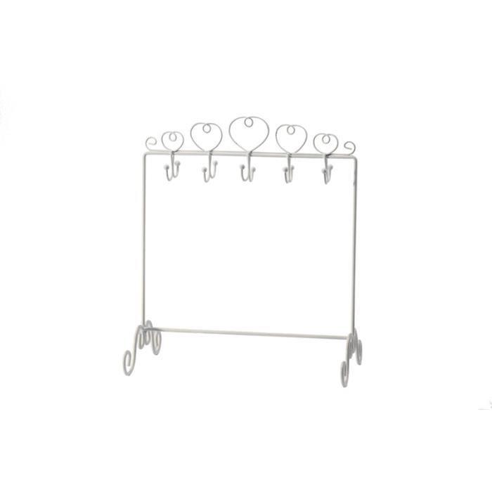 78c17cbd00500 Présentoir Coeur crochets - blanc - Achat   Vente présentoir bijoux ...