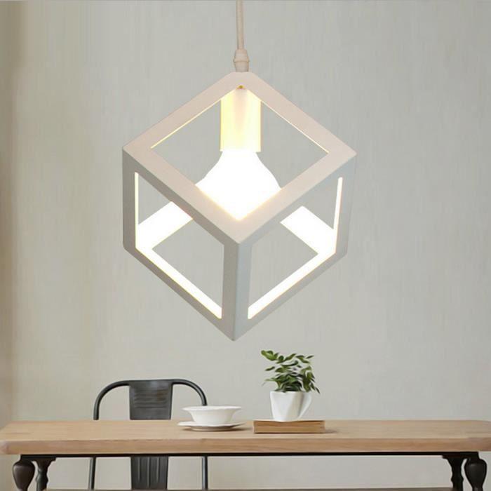 Charmant Lustre Suspension Luminaire Industrielle Cage Carré Filaire Pour Salon,  Cuisine, Restaurant E27 Blanc (Ampoule Non Inclus)