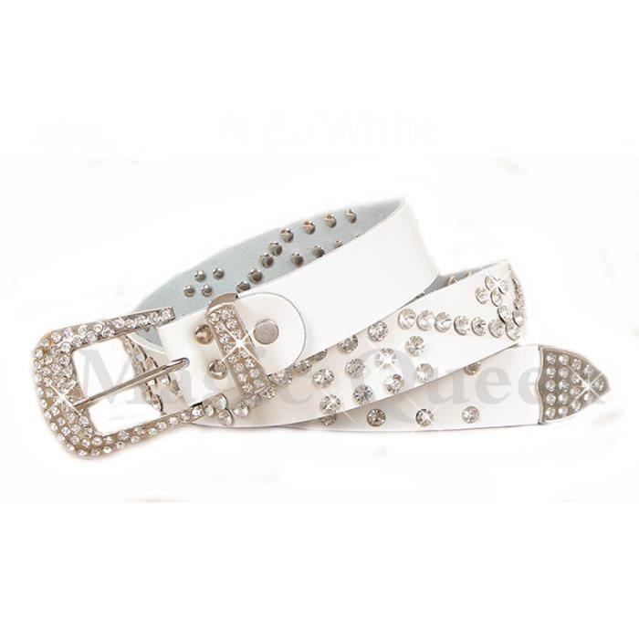 ceinture femme large mode sertie de diamant artificiel avec boucle épingle 8383c7d8c72