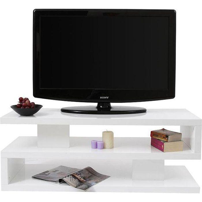 Meuble tv design laqu blanc nexy achat vente meuble for Meuble tv moderne