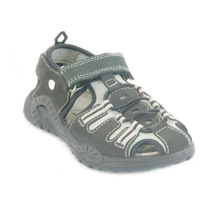 Primigi Sandales Petit Garçon Velcro Cuir Muzio Noir Gris 69250