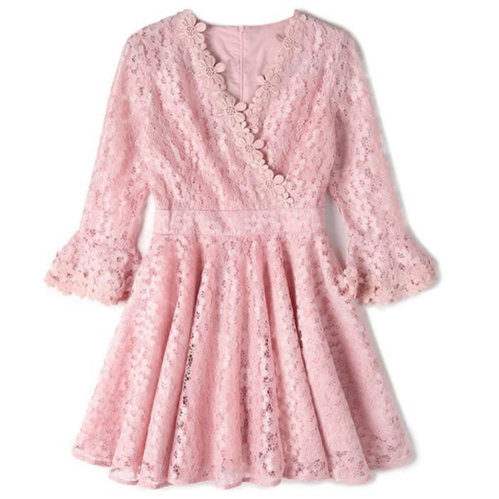 Robe Femme Manches Longues Couleur Pure Sexy Col V Floral Dentelle Creux Out Mademoiselle HEE GRAND