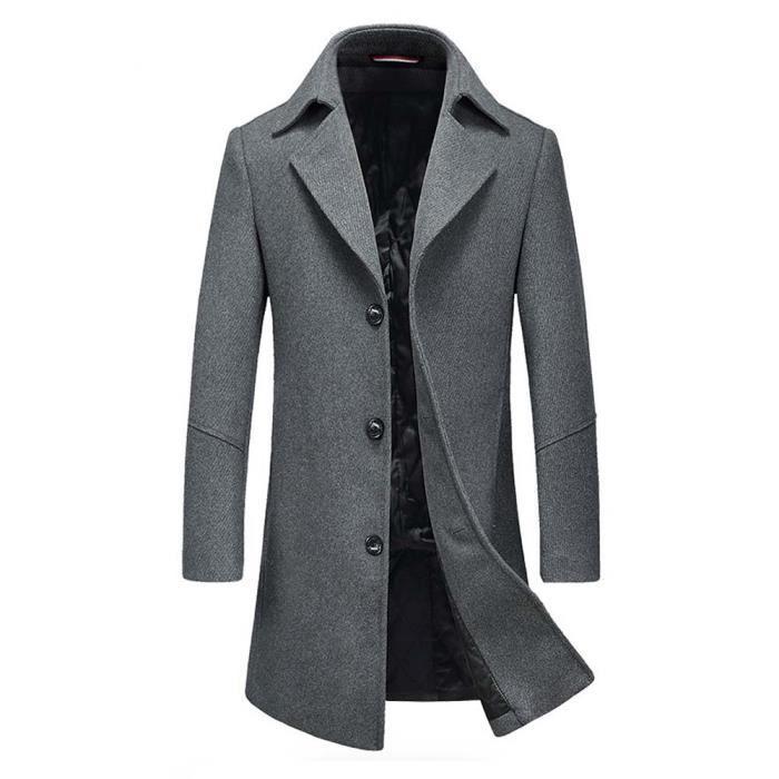 manteau laine homme hiver epais mi long casual pardessus confortable