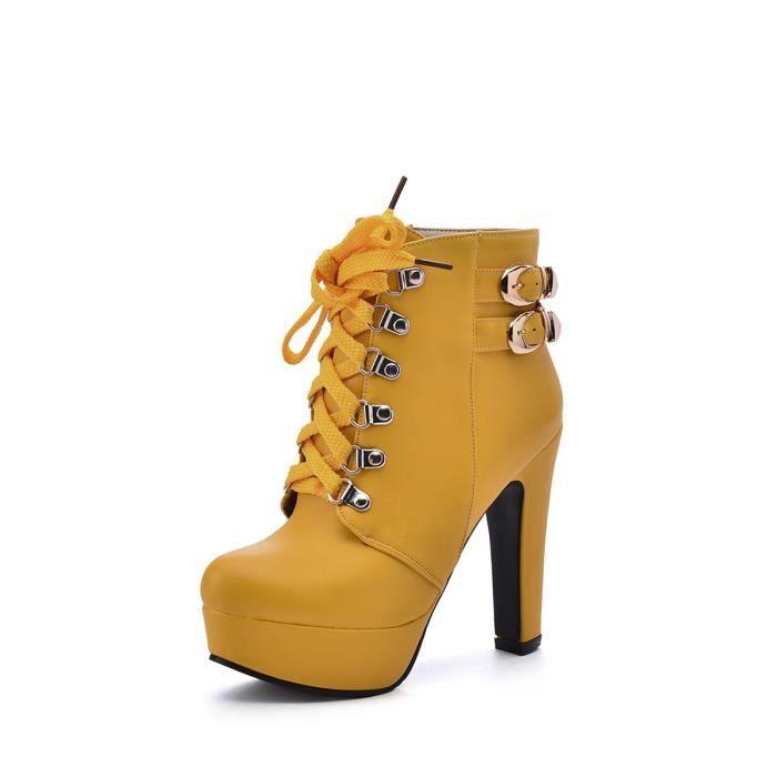 Bottes de cheville de femmes Talons épais Plateforme Taille Plus Bottes de lacer 8888686