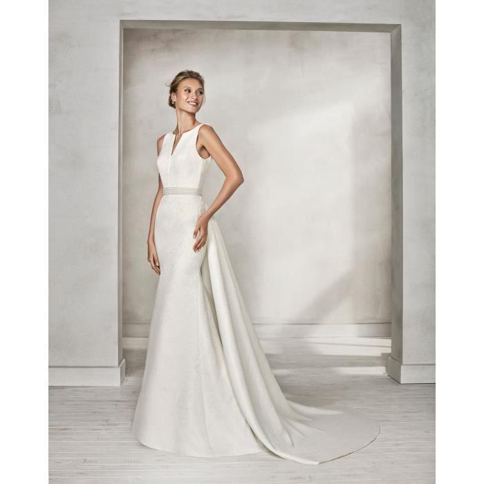 9b13e4cde8d Robe de Mariée Mariage Sirène Longue Femme Satin Sans Manches Dos Nu Blanc  Perlée