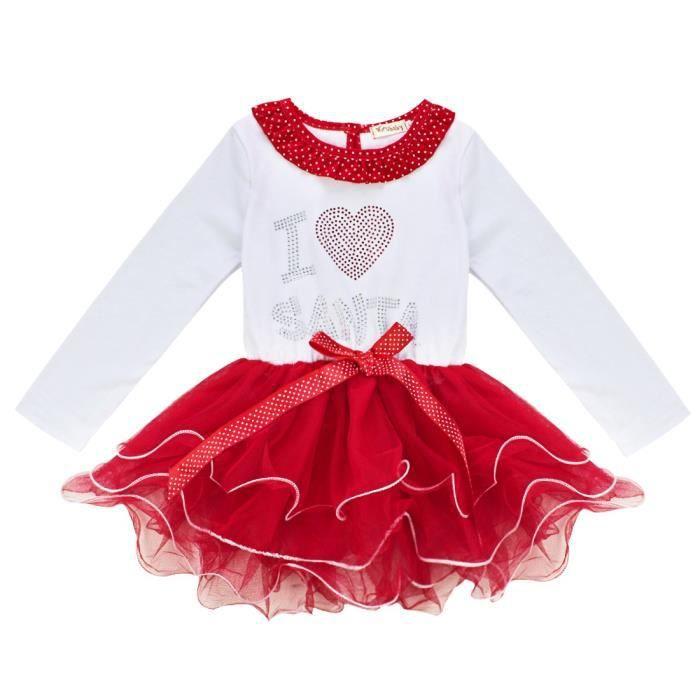 eb6cfc49372 Robe de Noël fille enfant - Santa Noël coton rouge à volants à pois manches  longues fête - de 2 à 8 ans