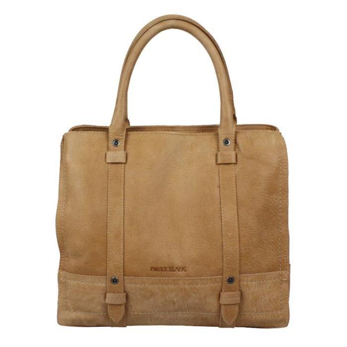 juste prix plus grand choix détaillant Sac à main cuir naturel Patrick Blanc 111055 carré (Beige)