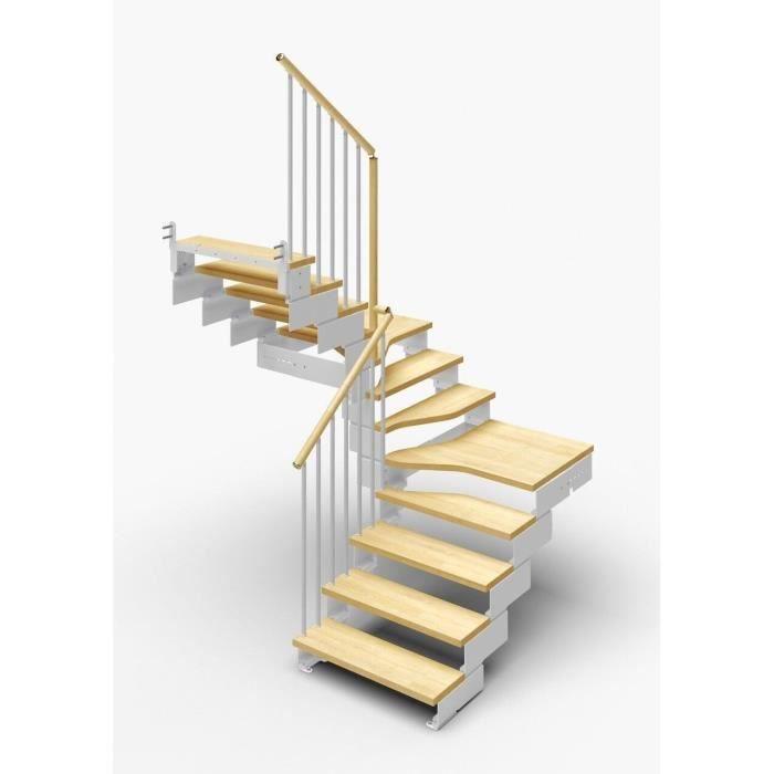 Escalier double quart tournant 12 marches en bois massif naturel ...