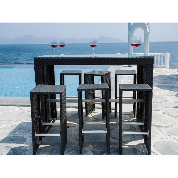 Set bar de jardin riverside 6 places aluminium et r sine for Table exterieur en resine