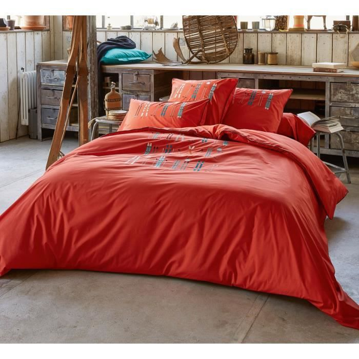 Housse de couette percale broderies skis Lunch time rouge 240x220 - Sylvie  Thiriez 943780a18af9
