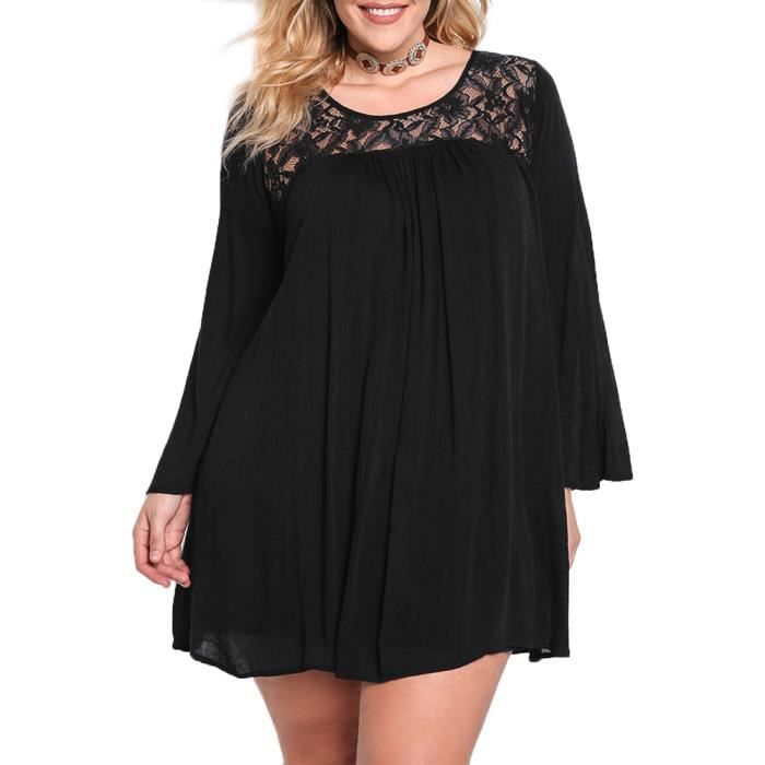 Fitibest Lace Long Sleeve Dress Loose Casual Chiffon Dress Round Neck Longue Robe pour Femmes, Respirant, Noir(XL)