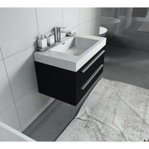 Meuble salle de bain bois noir - Achat / Vente pas cher
