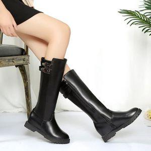 Frankmall®Mode femmes Hiver botte cuissardes haute sur la genou augmenté talons platsMarron NYZ71103555BW yUib4D