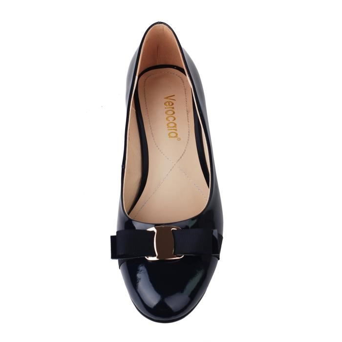 Flat Heel Round Toe With Bow-tie Genuine Leather Casual Balleria Pump For Bride Party GHNG7 Taille-42 1-2 WRaqkx7WeG