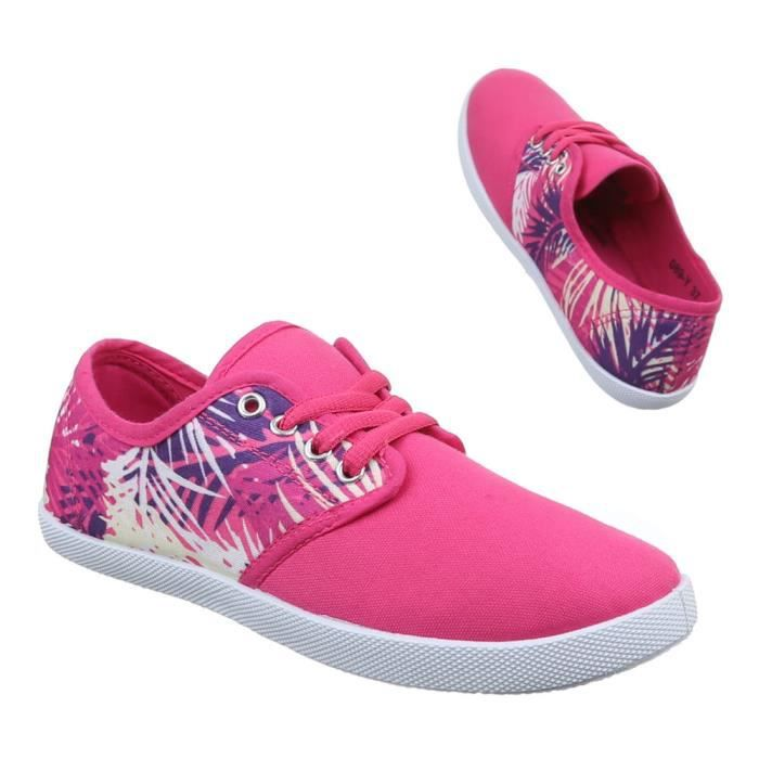 Femme chaussures loisirs chaussures Sneaker lacer rose 36
