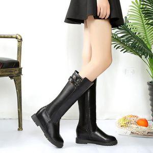 Frankmall®Mode Hiver botte cuissardes haute sur la genou augmenté talons plats pour femmes Noir NYZ71103552BK O36gLi8