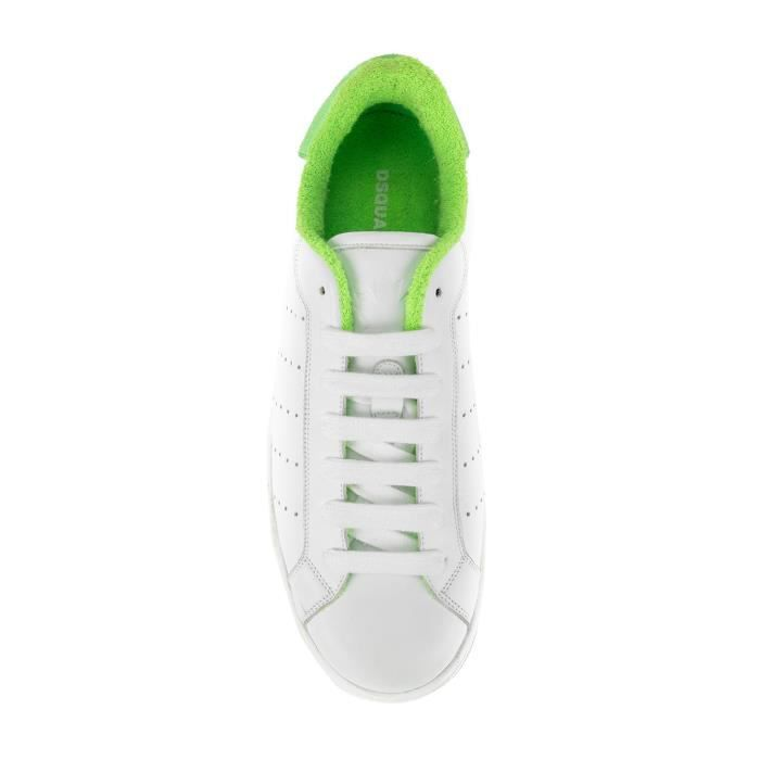 DSQUARED2 HOMME SNM040306500286M900 BLANC CUIR BASKETS NkxLN