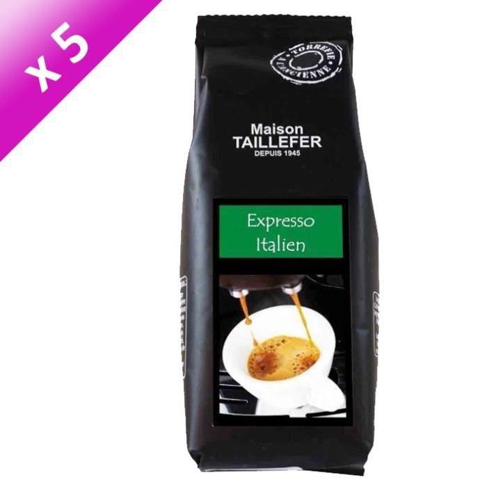 MAISON TAILLEFER Lot de 5 Cafés Moulus Expresso Italien Sachet de 125g