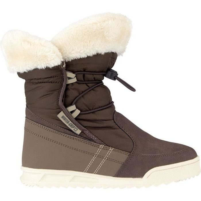 Femme - Marron - Imitation fourrure - Dessus en polyester / cuir nubuck - Remplissage en mousse - Semelle TPRAPRES-SKI - SNOWBOOT - BOOTS DE SKI