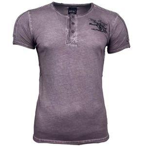 8c6ab0cd1394 Subliminal Mode - Tee shirt homme col arrondi boutonné délavé SB6787 ...