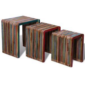 TABLE BASSE Table gigogne 3 pcs Teck recyclé coloré