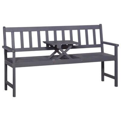 VidaXL Banc de jardin 3 places et table 158 cm Bois d\'acacia Gris ...