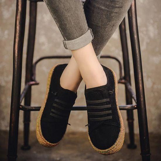 Femmes dames simples chaussures à semelle plate cheville femmes bottes à lacets en cuir suédé rw@400 Noir Noir - Achat / Vente botte