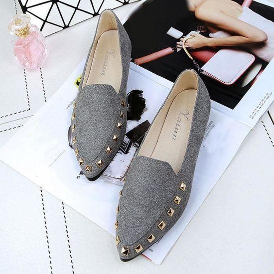 Appartements Rivet Ladies Comfy Chaussures femme Soft Slip-On Chaussures bateau CasualGris Gris Gris - Achat / Vente slip-on