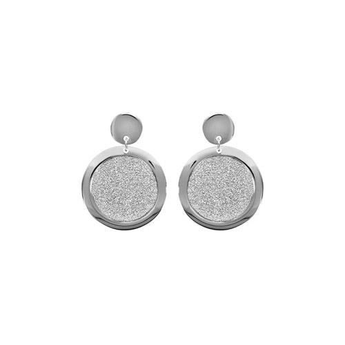 Boucles doreille tige acier motif rond granite
