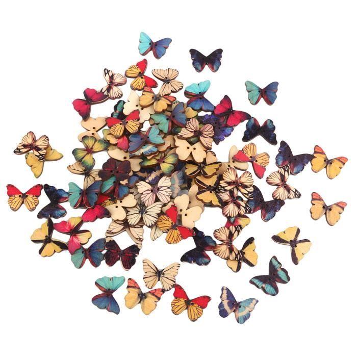 Dessin Papillon En Couleur enfile-bas couleur dessin boutons colorés de bois papillon pour