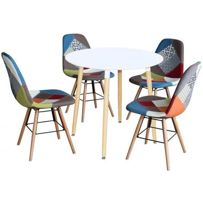 Ensemble Table Ronde Rimma 4 Chaise Patchwork Scandinaves Achat