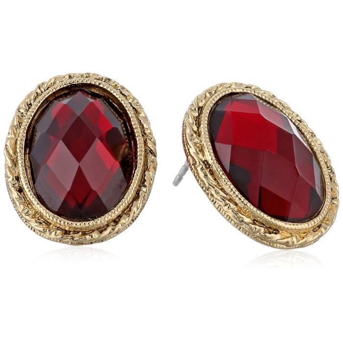 1928 Jewelry Gold-tone Siam Red Faceted Oval Button Stud Earrings O6JYY