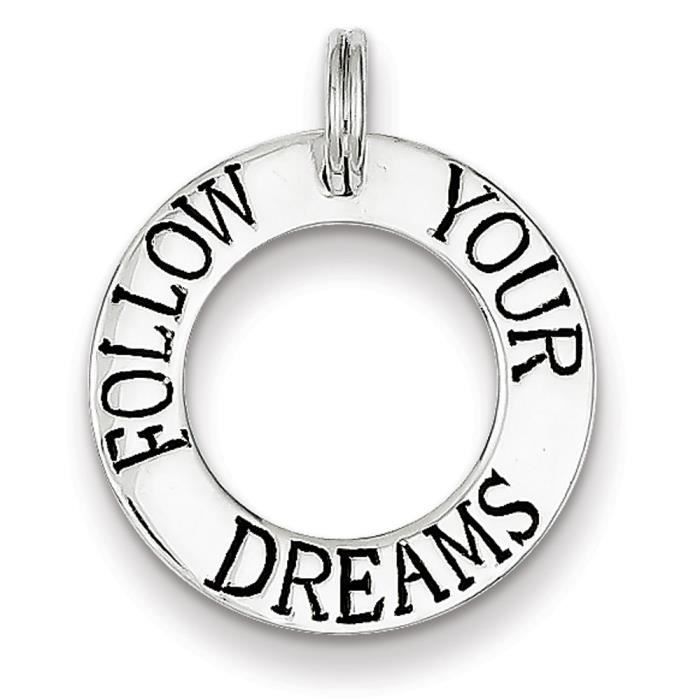 Argent Sterling Follow Your Dreams-Breloque Cercle WmAmFOQ4Yr