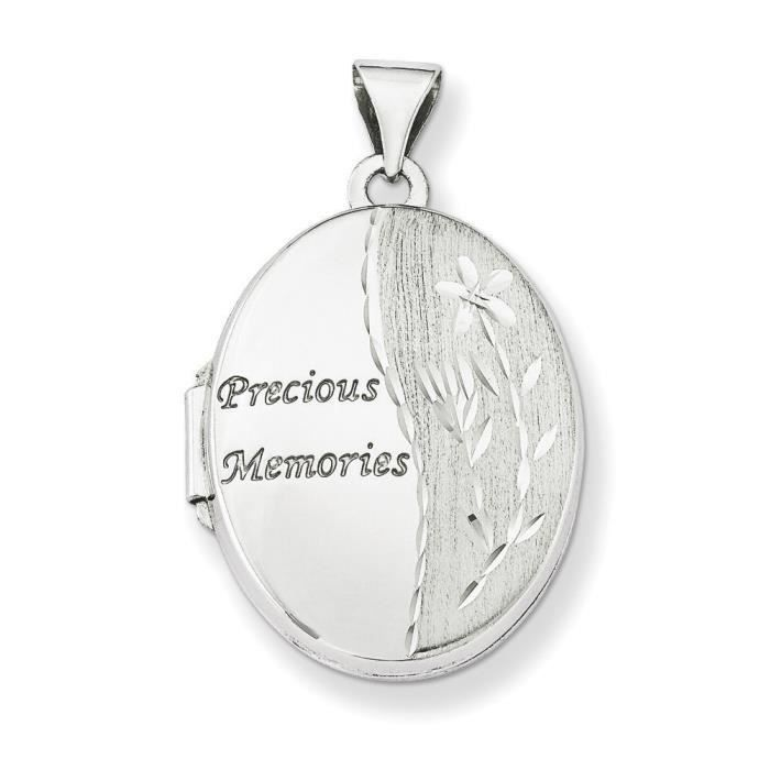 Or blanc 14 carats 21 mm famille-Pendentif Médaillon-Locket ovale