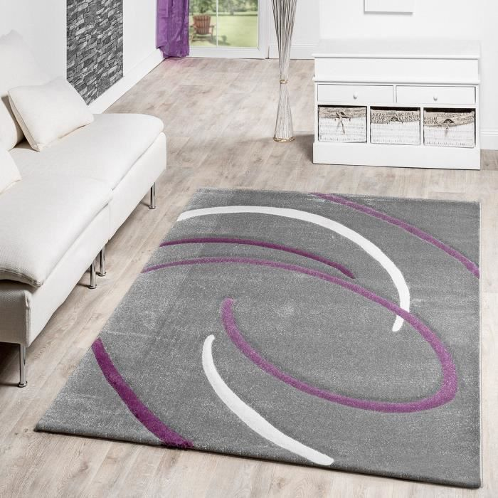 Tapis Salon moderne Ebro avec motif spirales en gris, Violet, crème ...