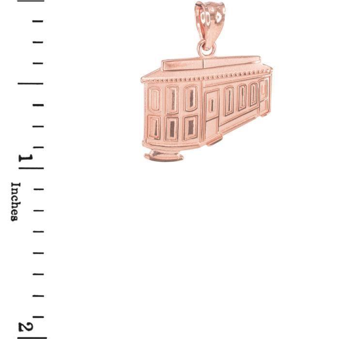 Collier Pendentif 10 ct Or Rose Gold San Francisco téléphérique(Vient avec une chaîne de 45 cm)