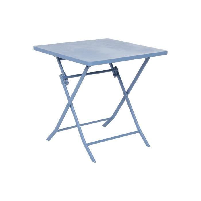 TABLE DE JARDIN CARREE EN MÉTAL HESPÉRIDE GREENSBORO BLEUET - Achat ...