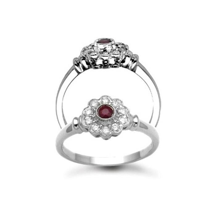 Jewelco London Or Blanc 9k Rond Rouge Rubis et Diamant 11 Fleur De Pierre Grappe Bague