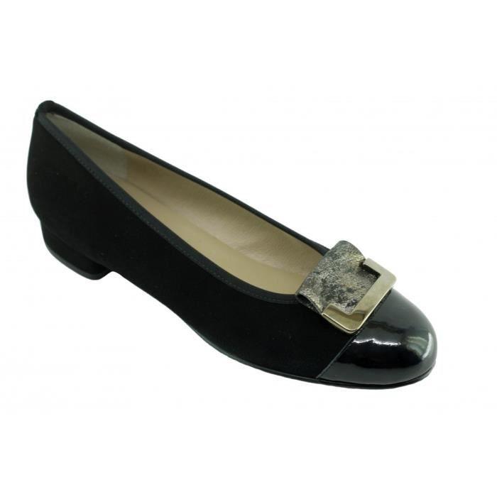 GABI - Ballerine à talon bout vernis chaussures femme petites pointures  tailles marques Angelina cuir noir a0dc0ad9102d